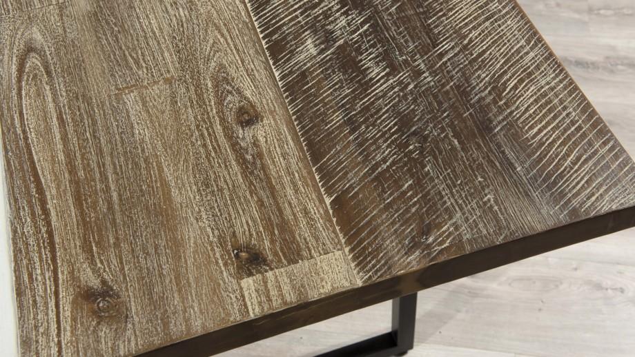 Table à manger 200x100cm en acacia piètement en métal - Collection Mateo
