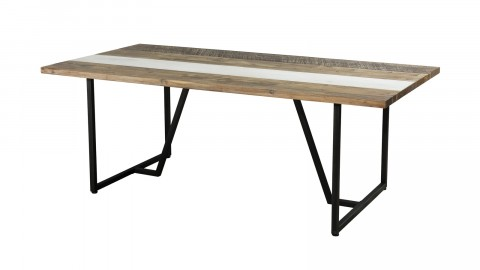 Table à manger 200x100cm en acacia piètement en métal - Theo