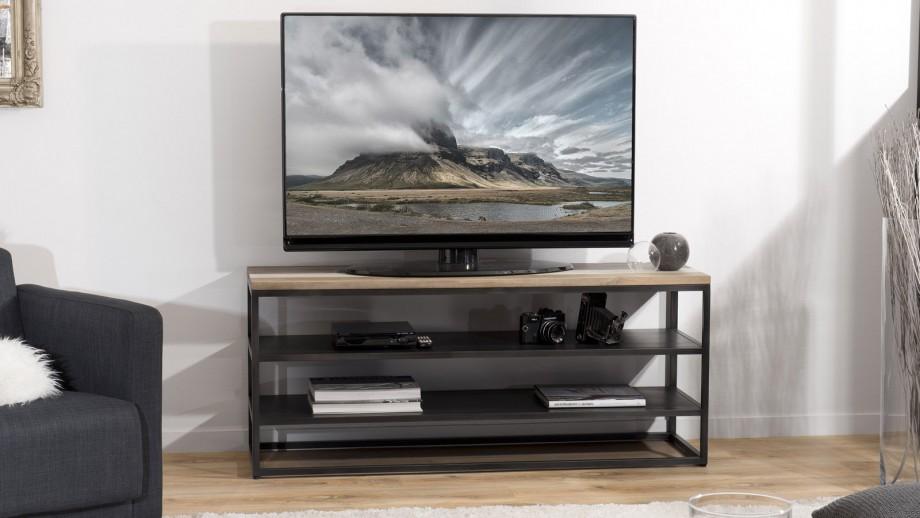 Meuble TV 2 étagères en acacia et métal - Collection Mateo