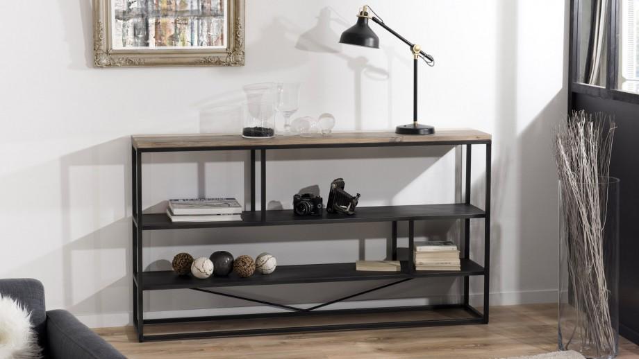 Etagère 160x90cm 3 niveaux en acacia et métal - Collection Mateo