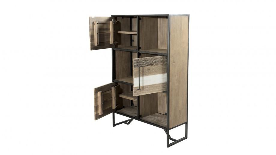 Bibliothèque 3 niches en acacia et métal - Collection Mateo