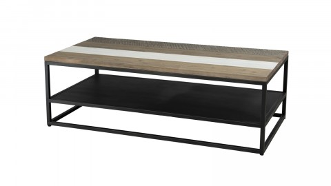 Table basse avec tablette en acacia et métal - Collection Theo