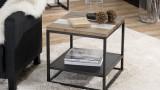 Bout de canapé carré avec tablette en acacia et métal - Collection Theo