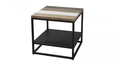 Bout de canapé carré avec tablette en acacia et métal - Collection Mateo