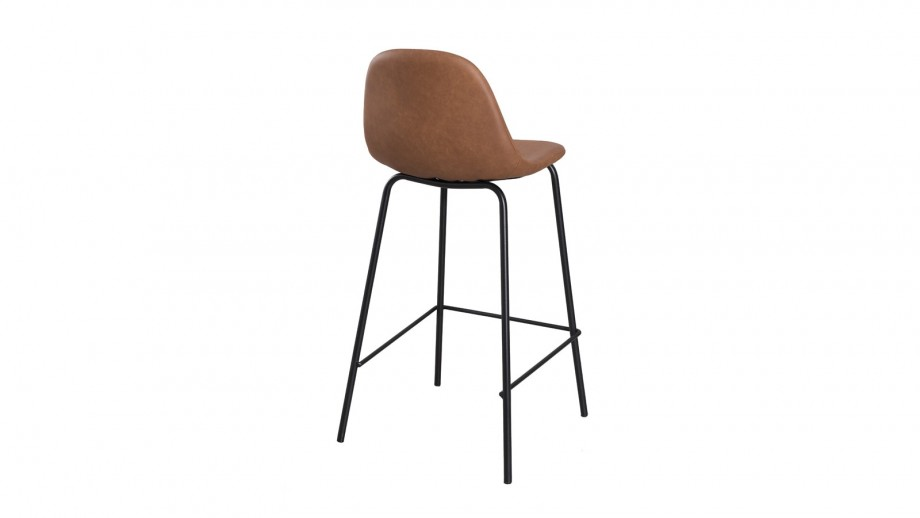 Lot de 2 chaises de bar John en simili cuir marron - Collection Tom