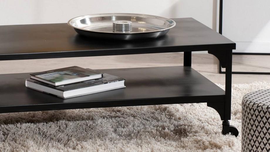 Thorbjørn - table basse industrielle noire double plateau