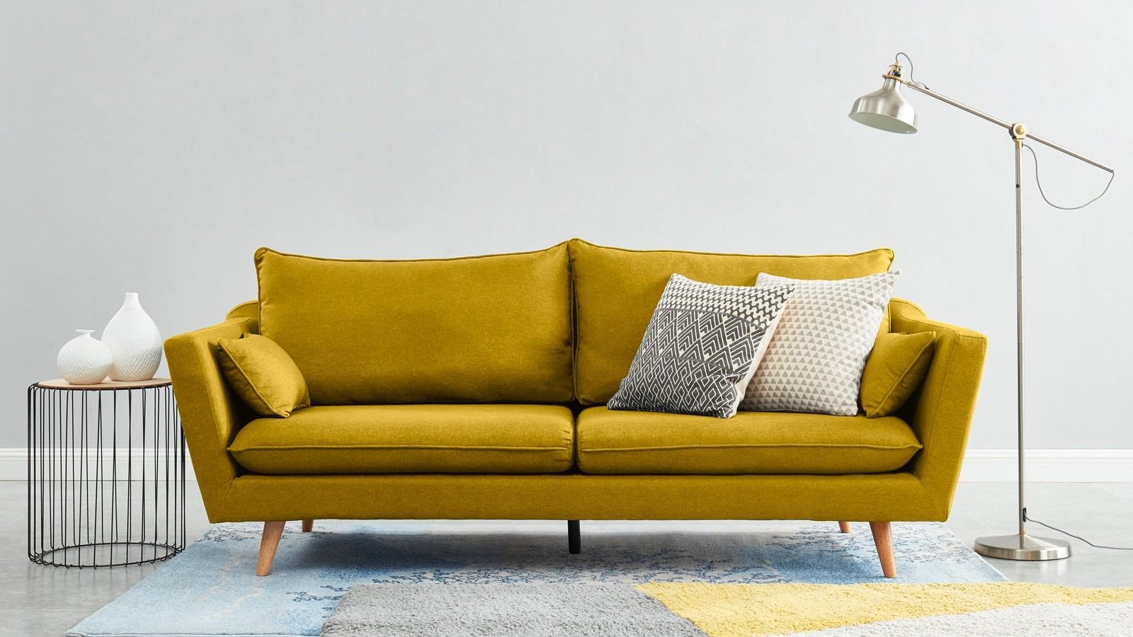 canapé trois places scandinave jaune