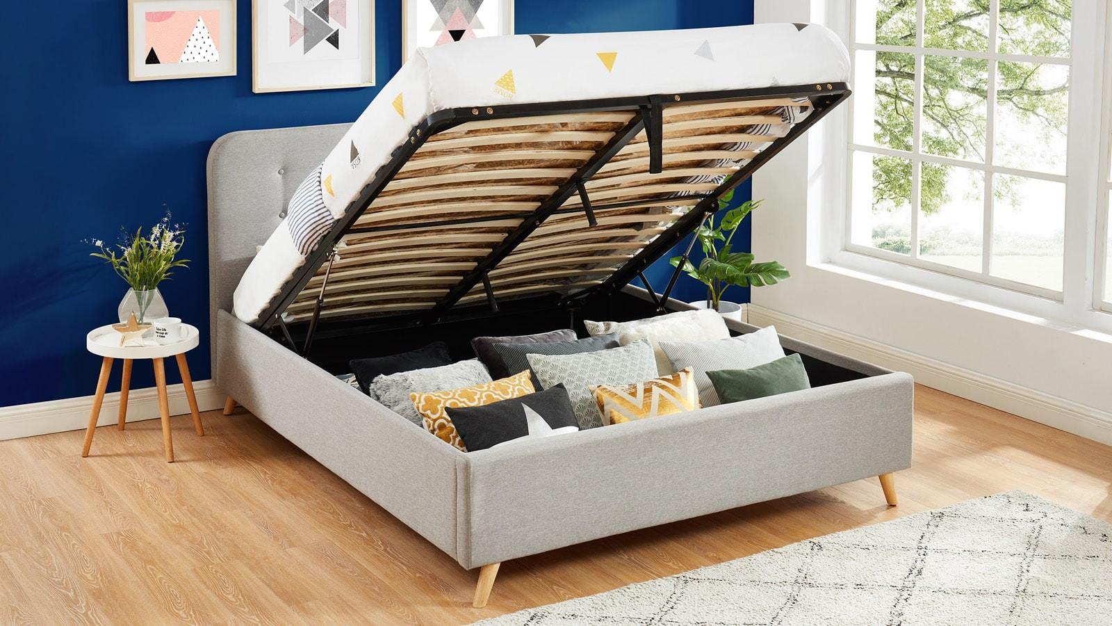 lit capitonné avec tête de lit et sommier marque Hbedding chez Homifab