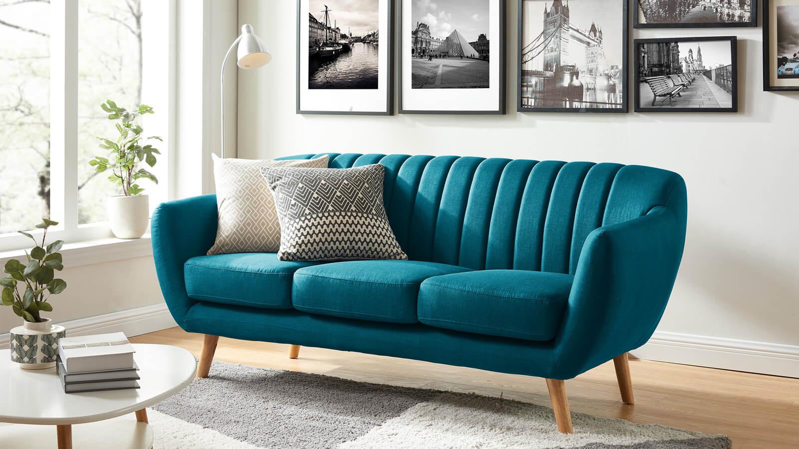 canapé Odda en tissu bleu