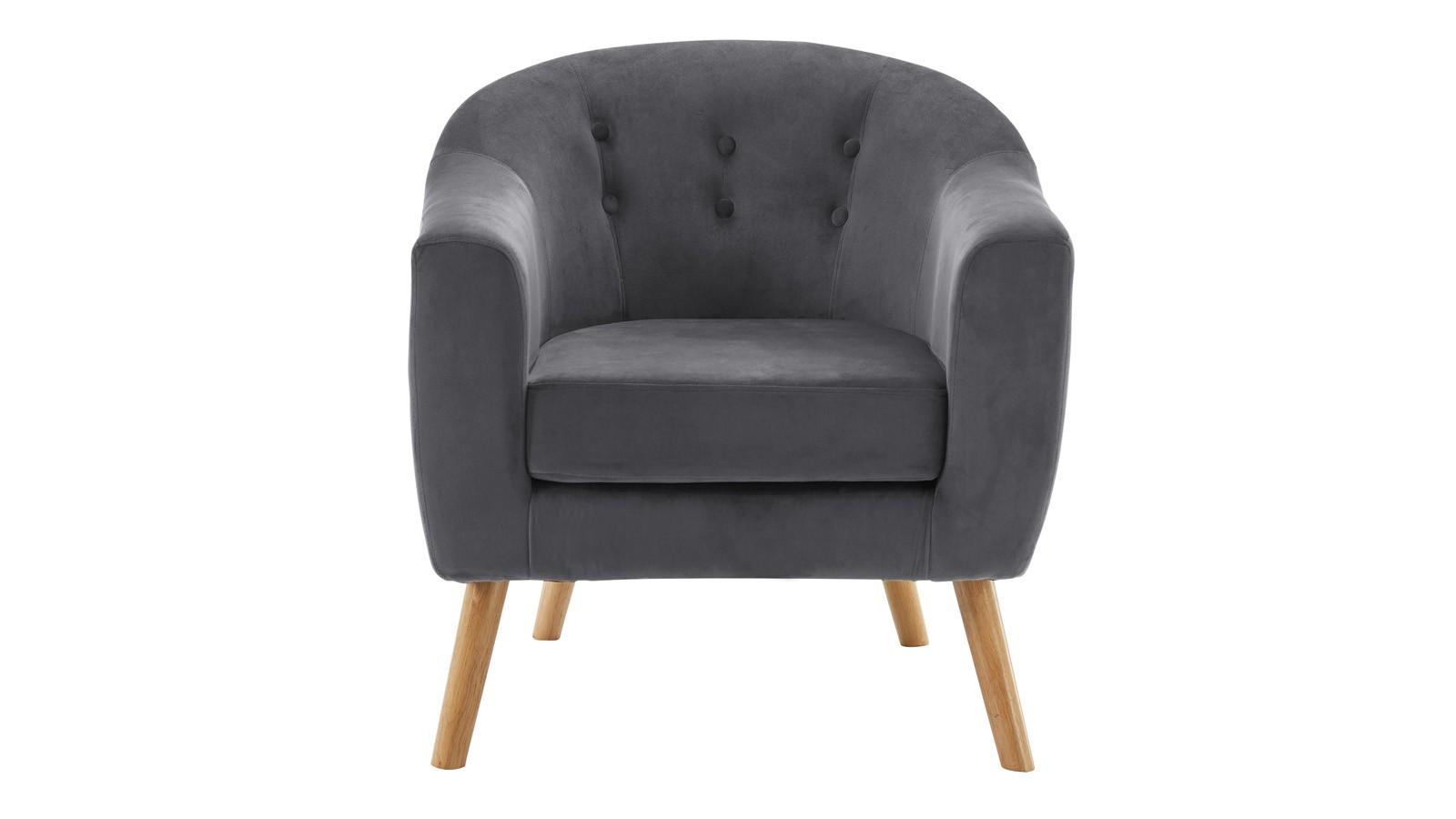 fauteuil scandinave volga en velours gris