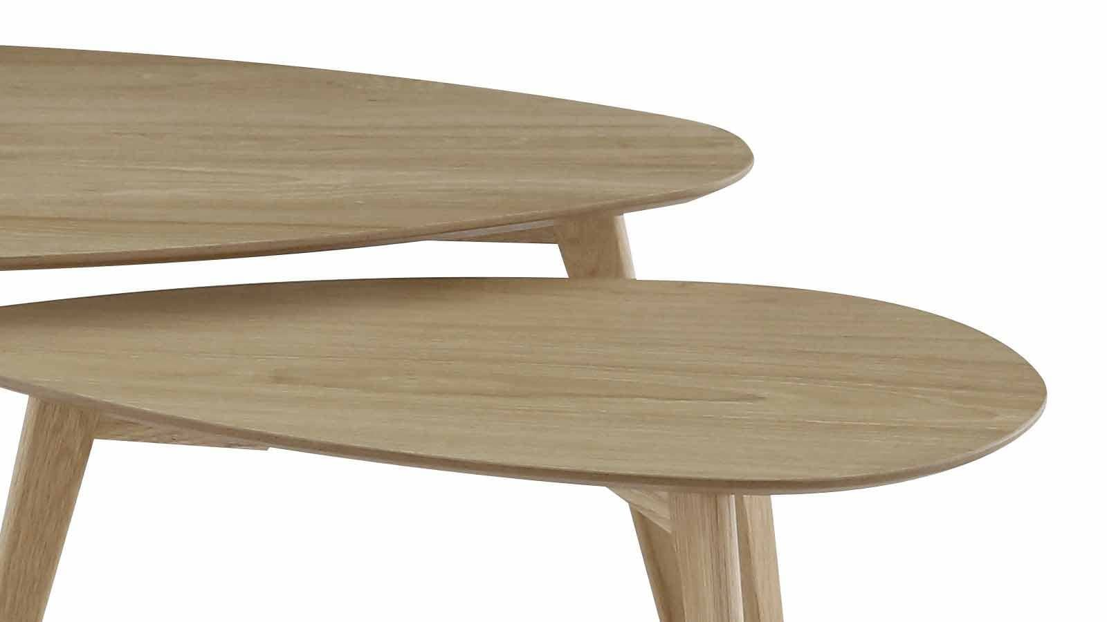 Set De 2 Tables Basses Gigognes Scandinaves En Chêne Piètement