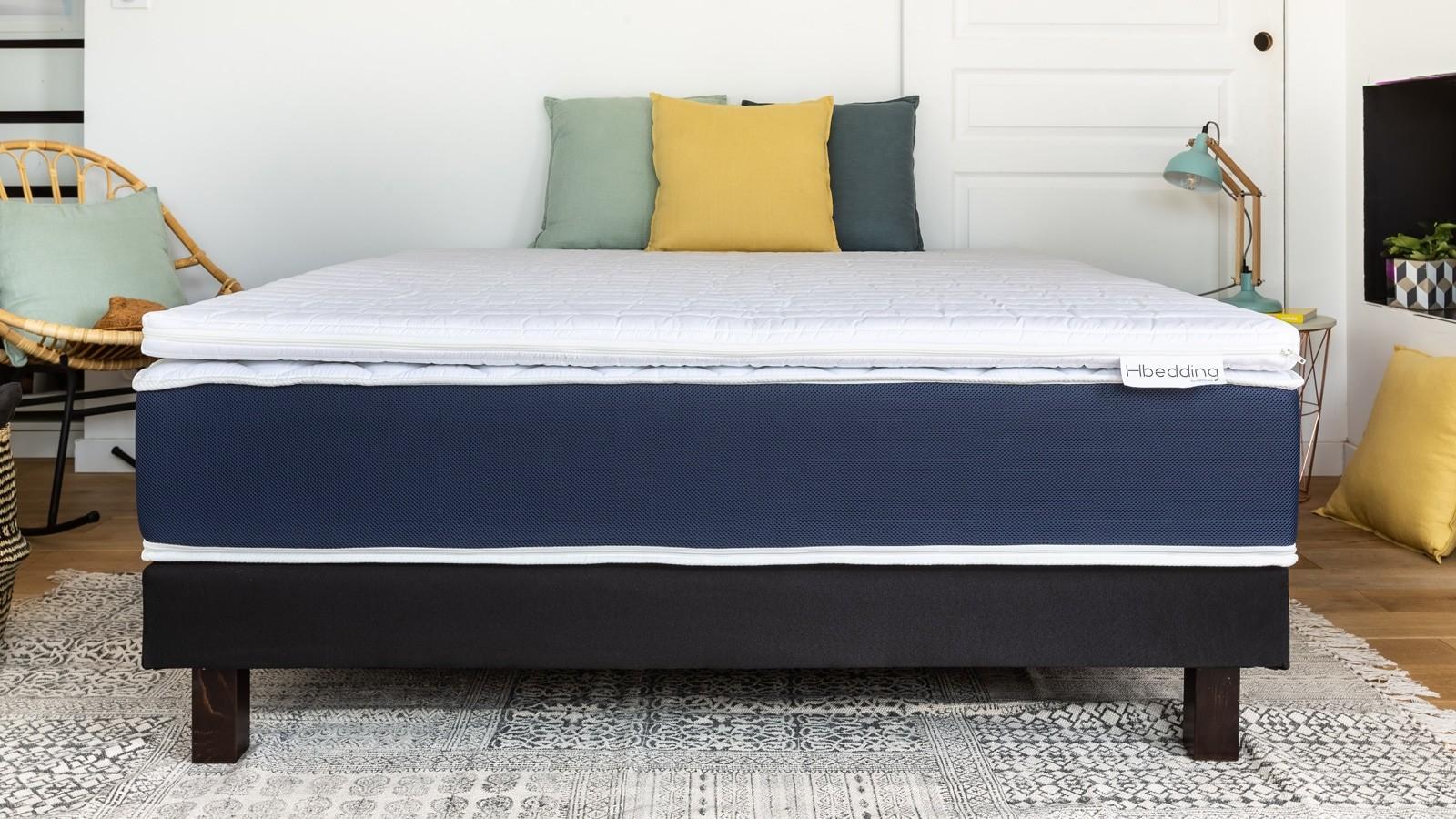sur matelas d houssable 160x200 confort plus hbedding mousse polyur thane homifab. Black Bedroom Furniture Sets. Home Design Ideas