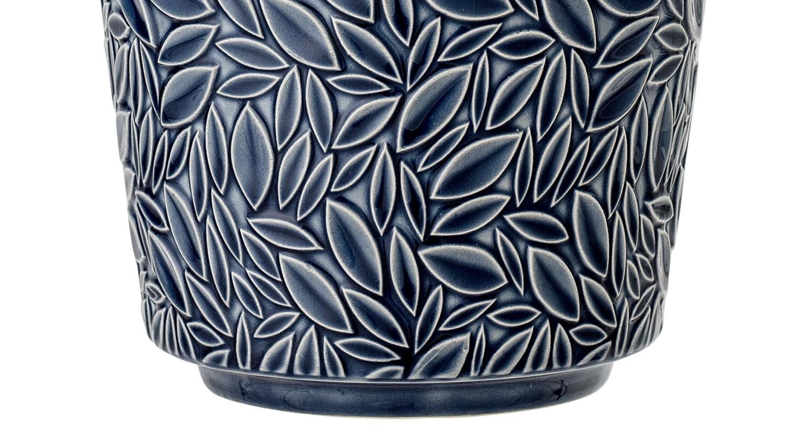 pot de fleurs en grès bleu