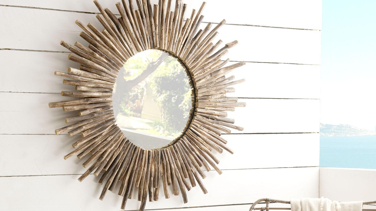 miroir rond soleil en branches