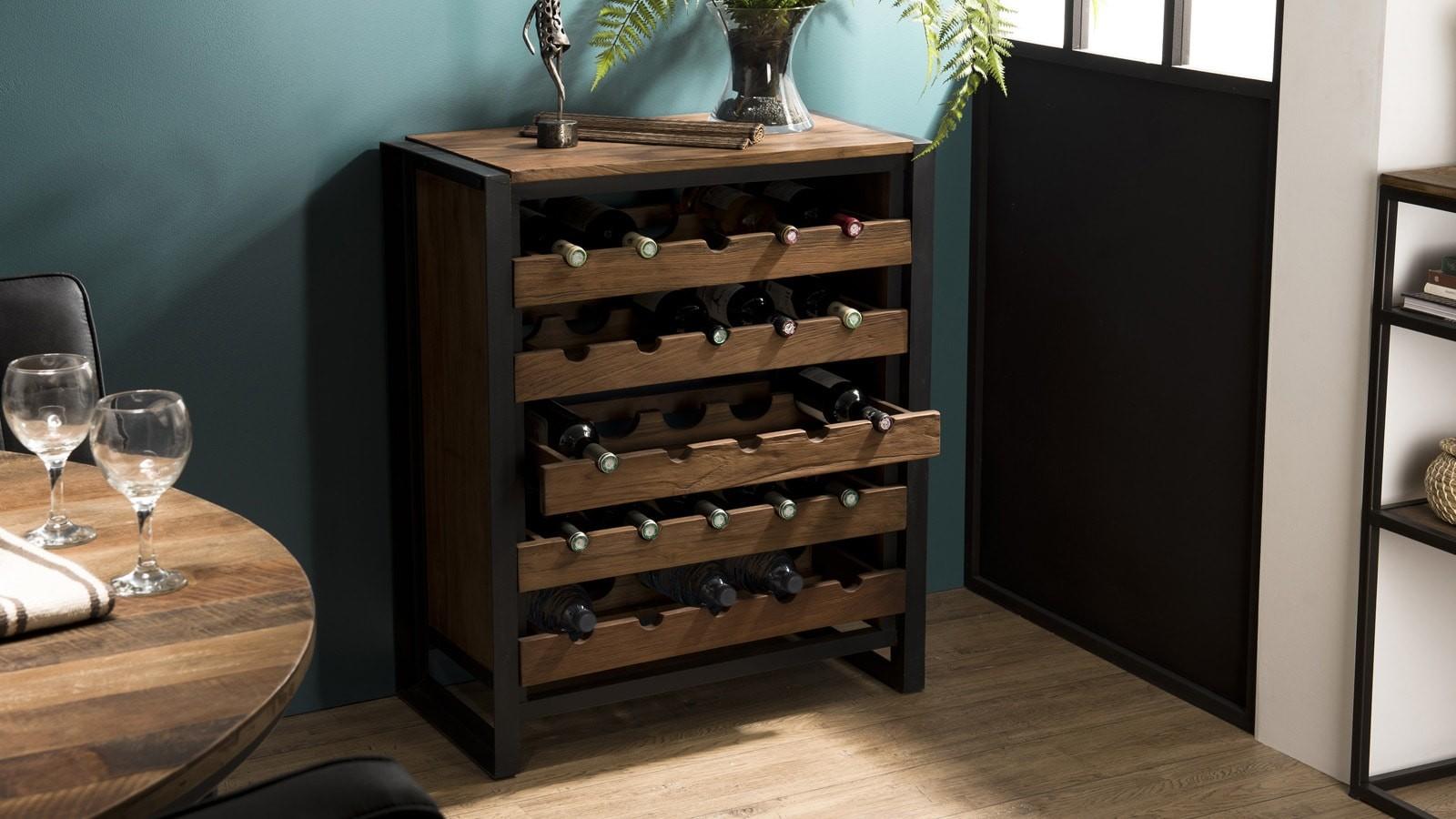 meuble à vin style industriel