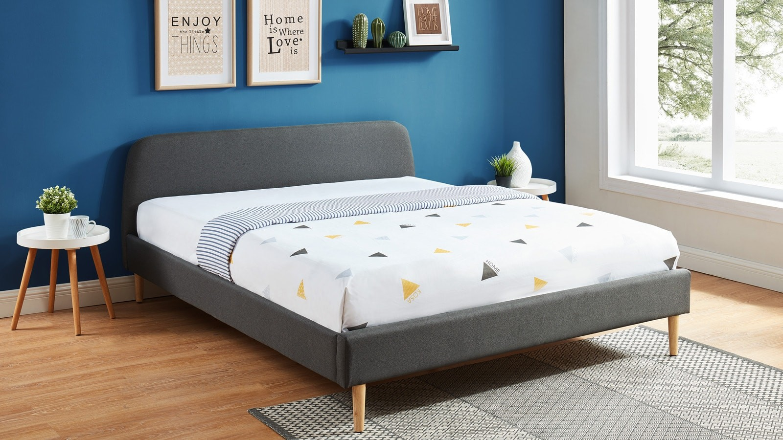 Lit Adulte Scandinave 160x200 Gris Fonce Collection Gaby Homifab