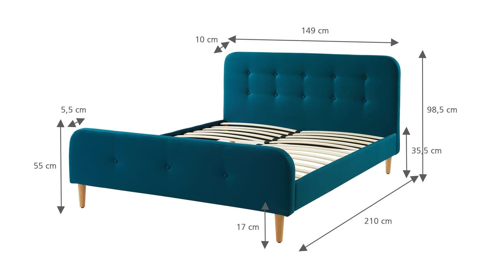lit en tissu bleu canard mark