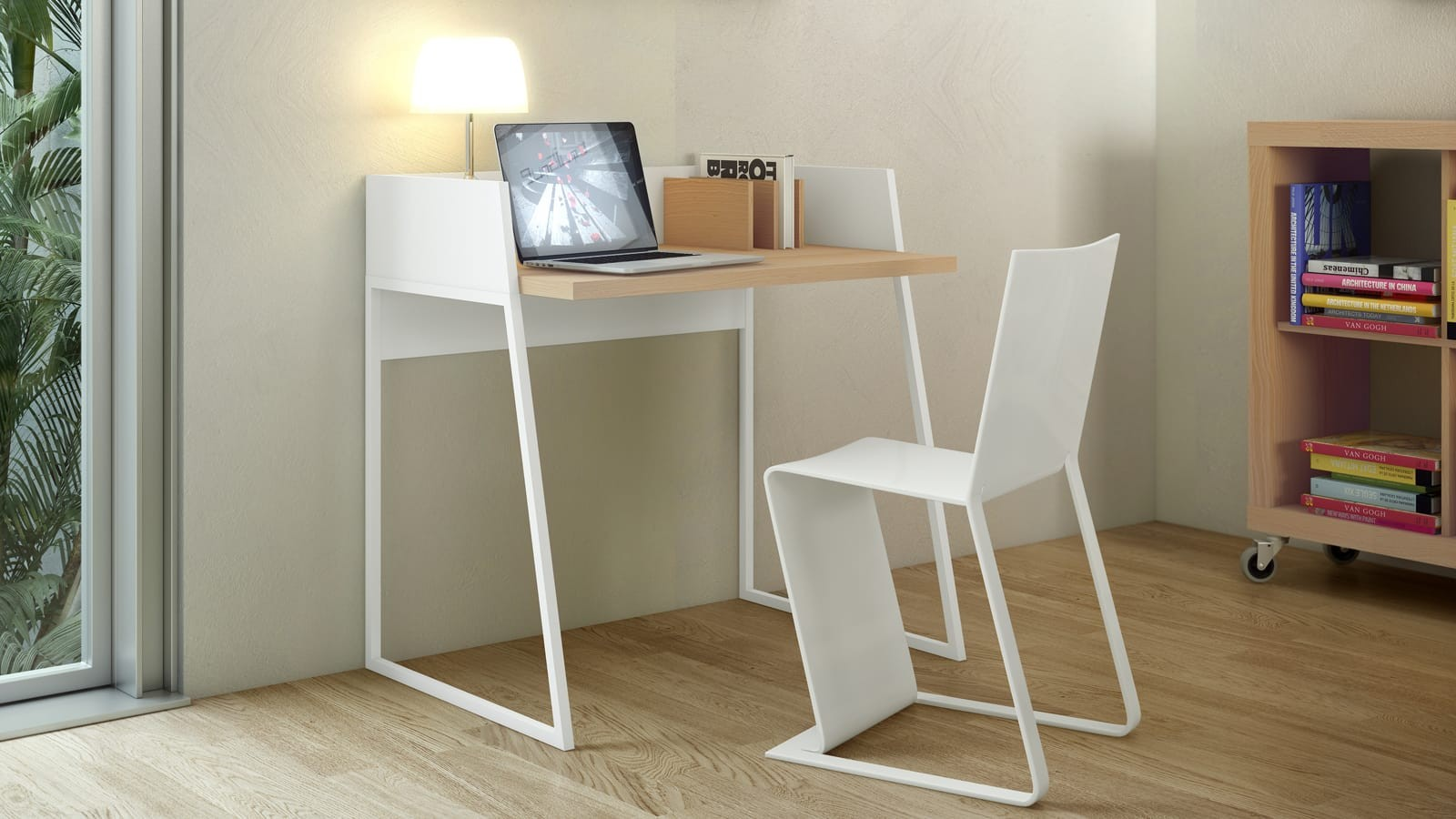 bureau en bois avec rebord
