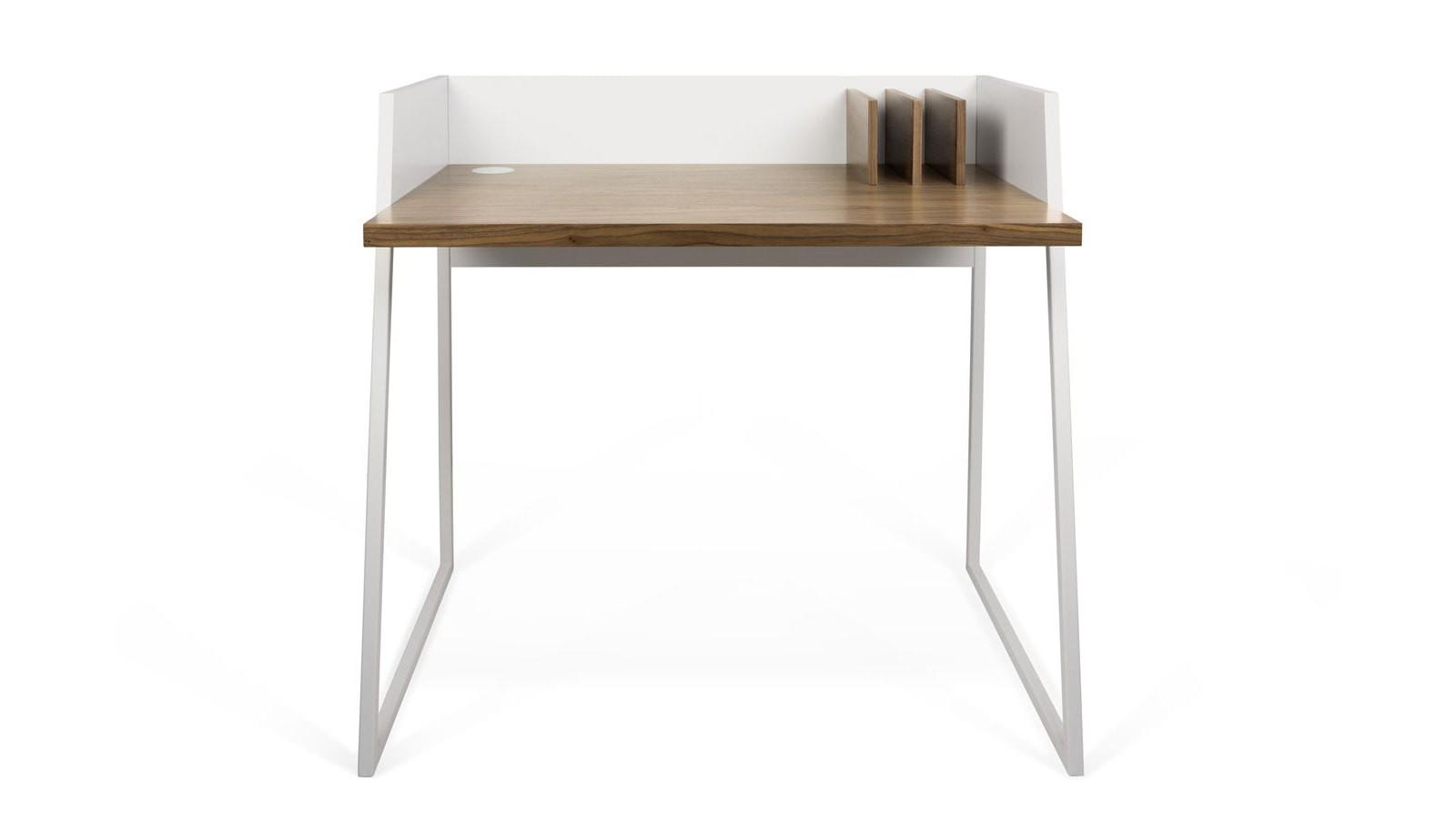 bureau en bois blanc et foncé