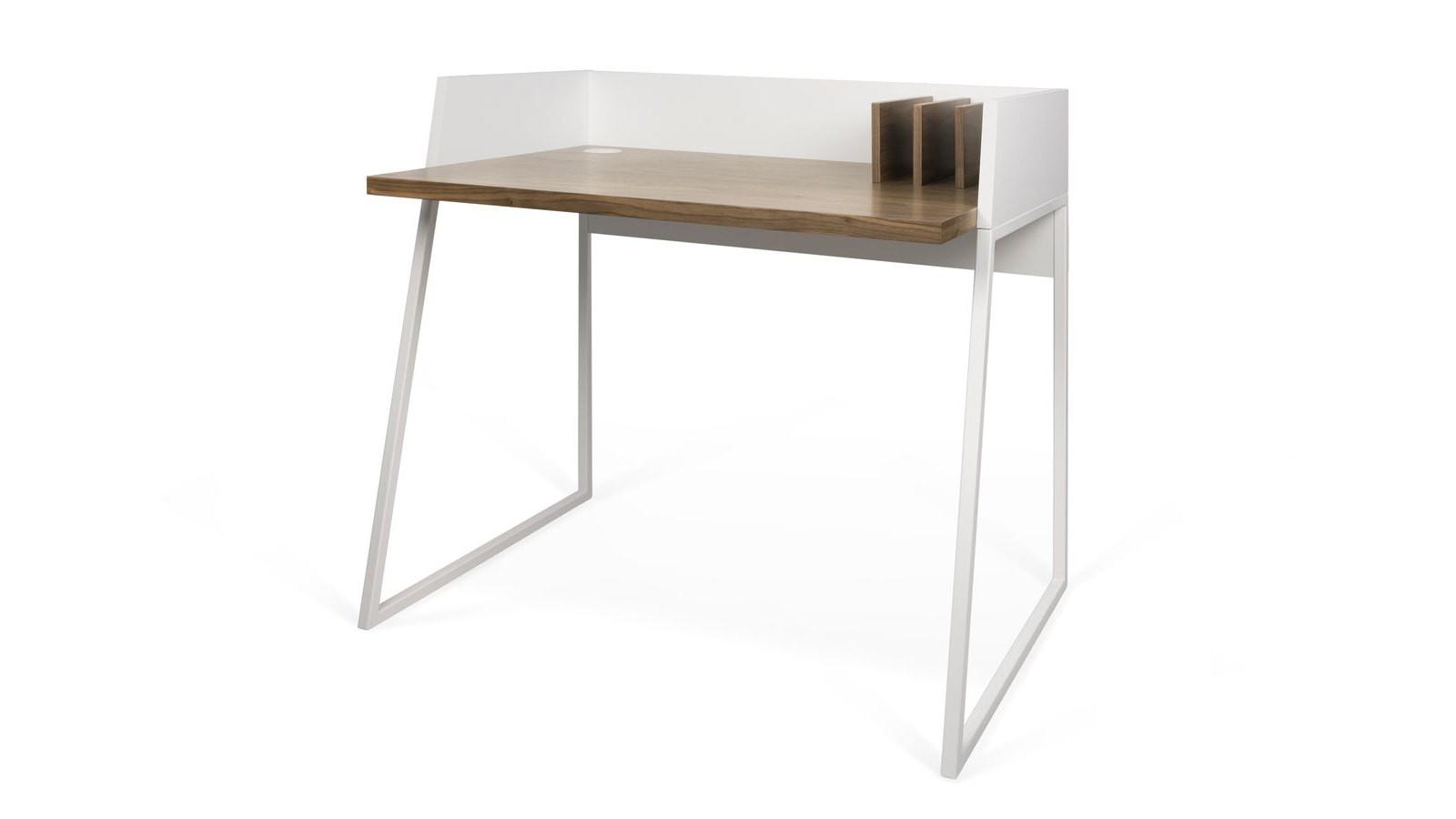 Bureau blanc et bois foncé collection volga temahome homifab