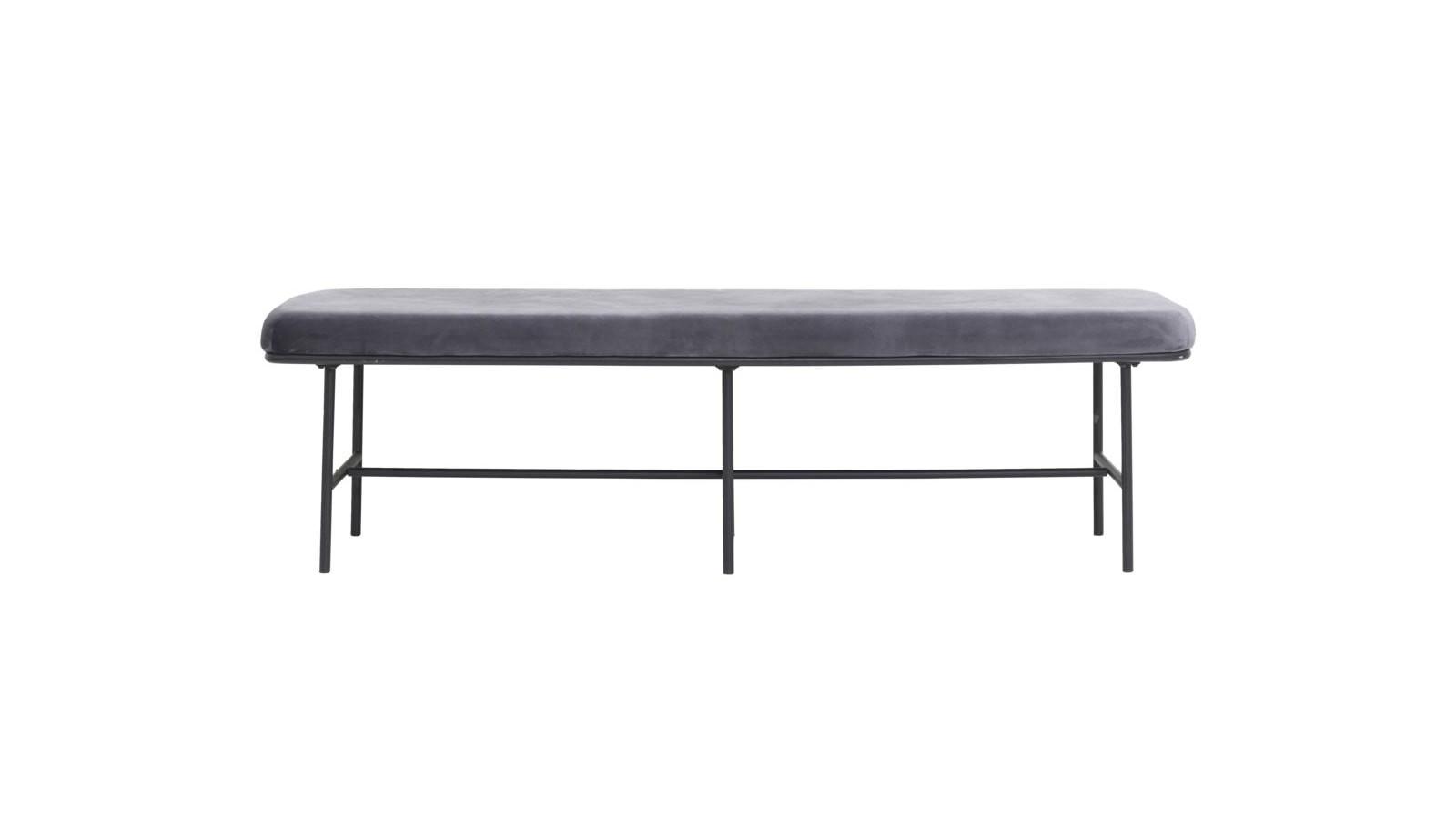 banc gris avec pieds en métal noir