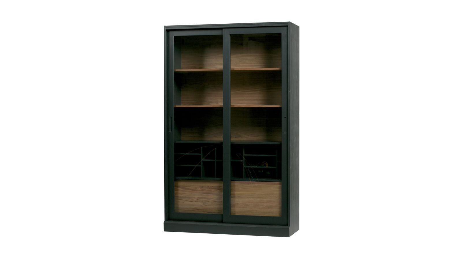 vitrine en bois 2 portes coulissantes