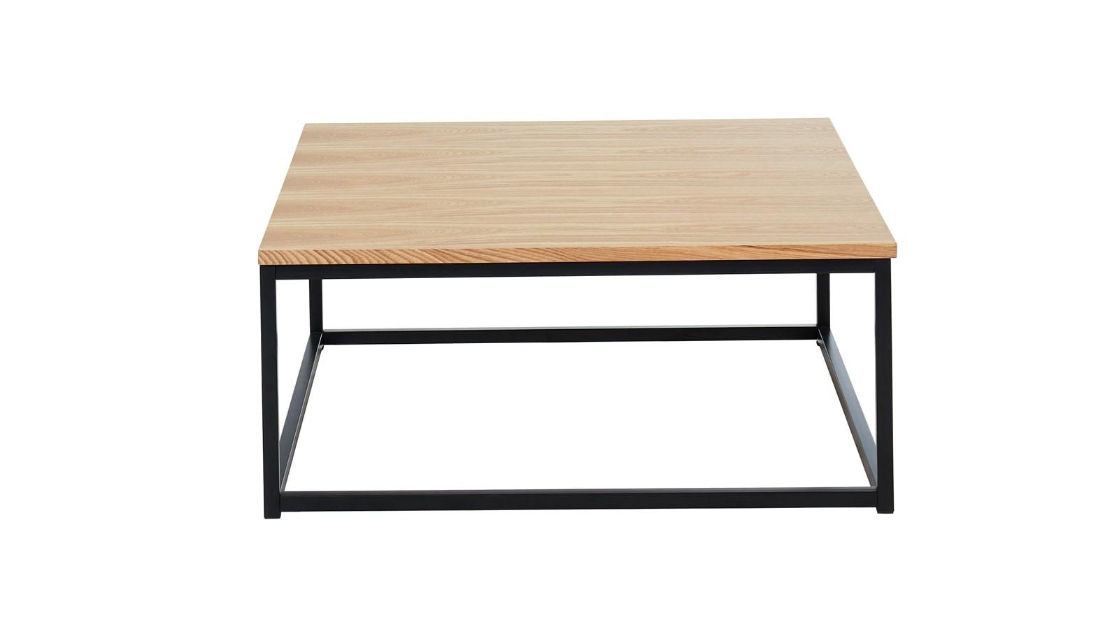 80x80x34 Et Table Chêne Basse Noir Cm Industrielle Effet L34cAj5qR