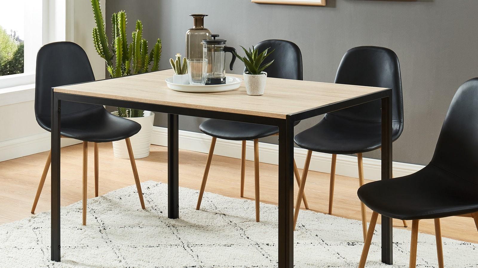 Table À Manger Industrielle table à manger industrielle 120x80x75 cm noir et effet chêne