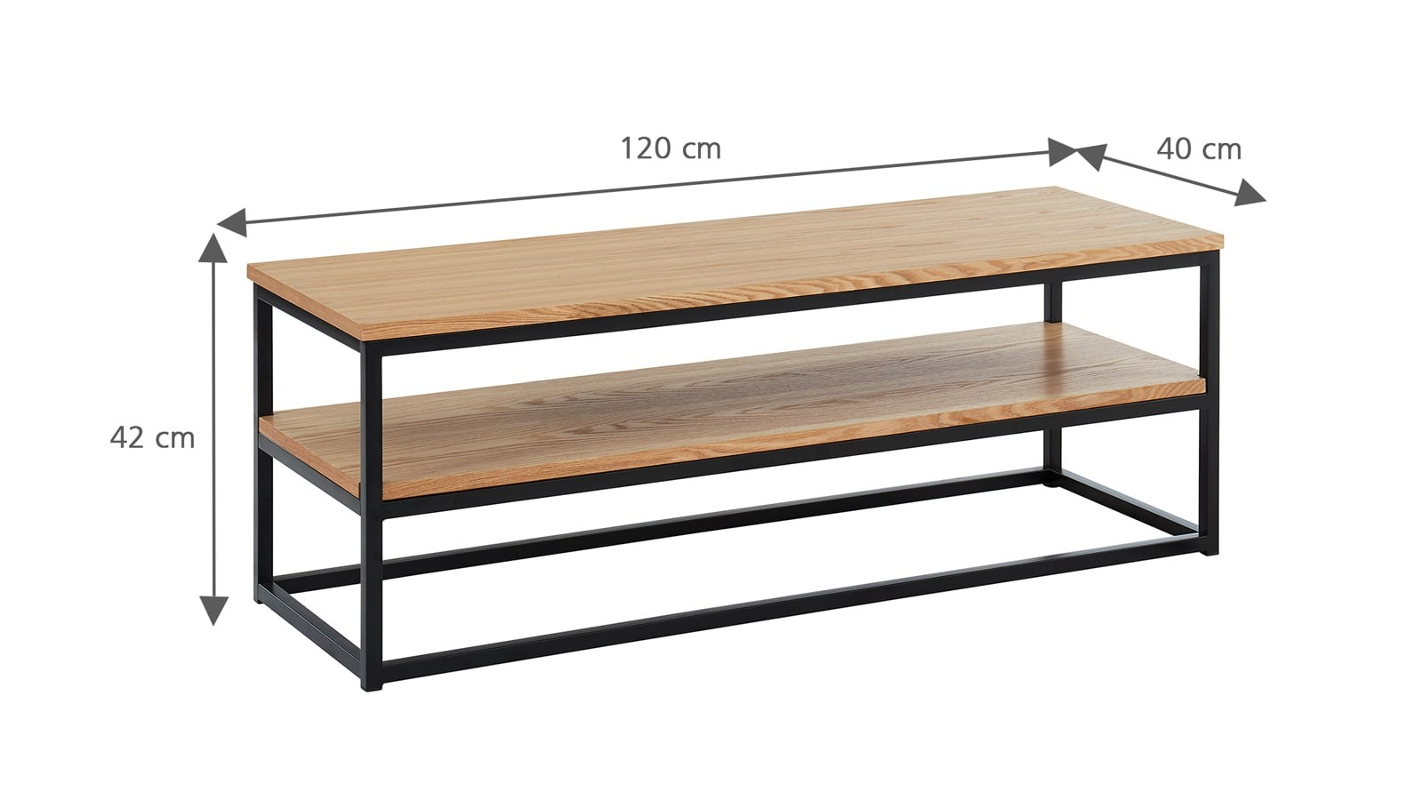 Meuble Tv Industriel 120x40x42 Cm Collection Brixton Homifab