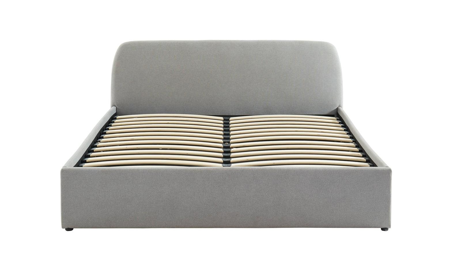 lit coffre en tissu gris clair