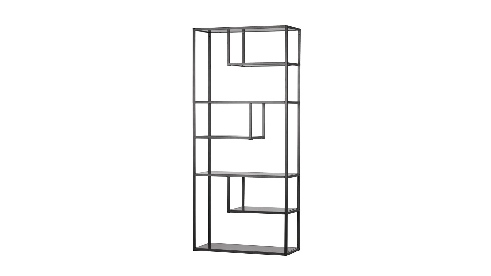 biblioth que cases en m tal noir collection teun homifab. Black Bedroom Furniture Sets. Home Design Ideas