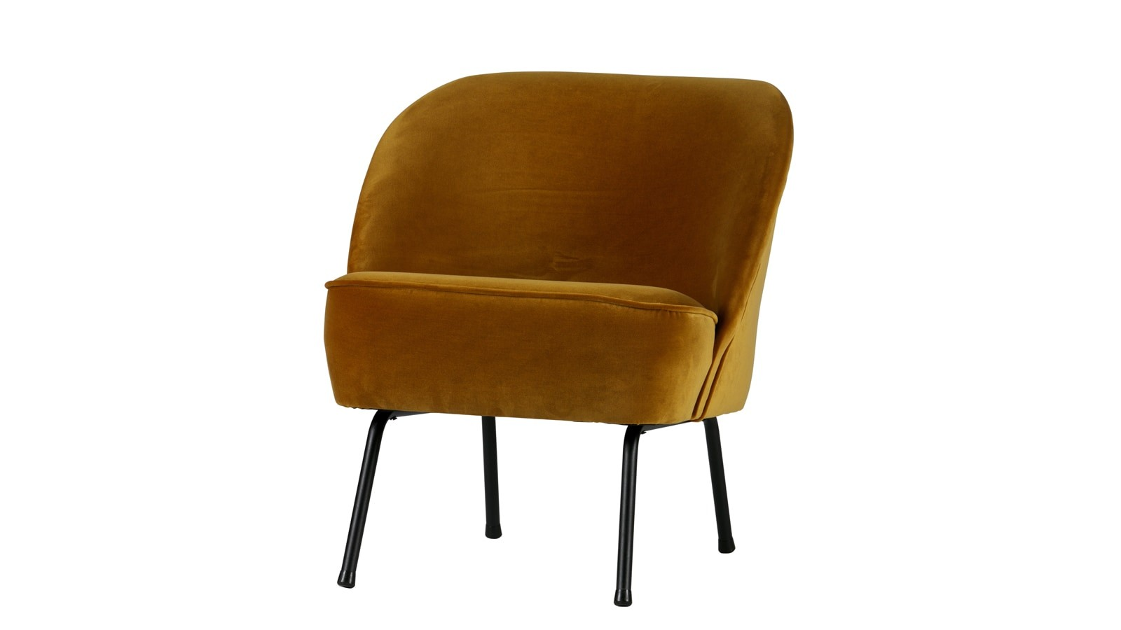 Fauteuil en velours moutarde Collection Vogue BePureHome
